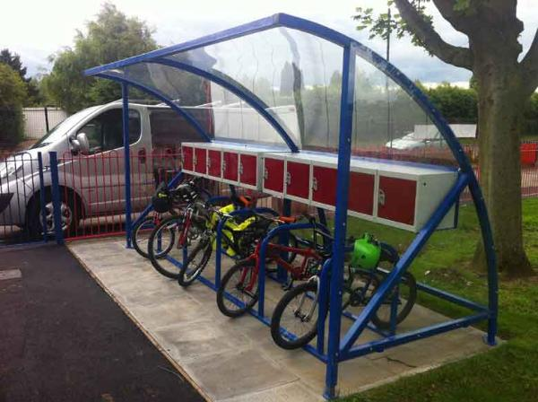 Midi cycle shelter with lockers | SAS Shelters