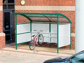Traditional Perforated Cycle Shelter | SAS Shelters