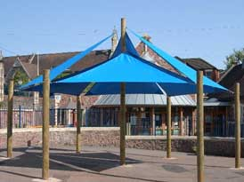 Wooden Supported Shade Sails | SAS Shelters